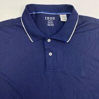 IZOD Performance Polo Shirt Mens 2XL XXL Navy Short Sleeve Hi Low Hem Casuals