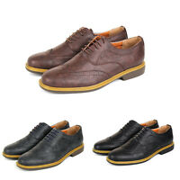 MENS SMART SHOES WEDDING FORMAL OFFICE WORK BROGUE BLACK , NAVY OR BROWN UK SIZE