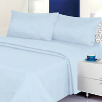Twin Size Light Blue 400 Thread Count 100% Cotton Sateen Dobby Stripe Sheet Set