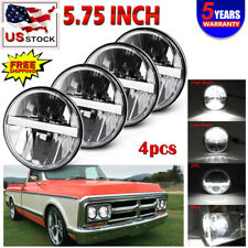 "FOUR 5.75"" 5 3/4 OE Round Sealed Headlight Conversion w/ DRL Hi/Lo LED H4 Bulb"