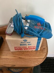 Vintage Royal Crown Revolving Brush Hand Vacuum Model 501 W/ Original Box