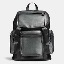 NEW Auth.COACH Men's Metallic Leather Nylon Laptop Grey sliver Rucksack Backpack