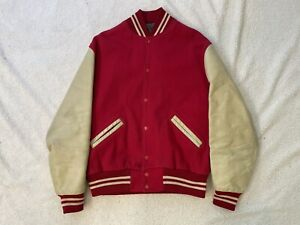 Vintage Nelsons Red Wool/Leather Varsity Jacket Size 44