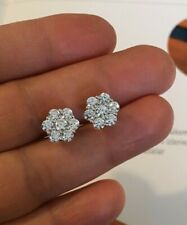 Lab Diamonds Round Cluster Earrings 9.5mm Mens 10K W Gold Earrings 0.17ct. Vvs2