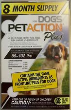 NEW PETACTION PLUS FOR DOGS 89 TO 132 LBS 8 DOSES 8 MONTH SUPPLY WATERPROOF BUY