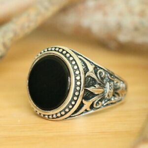 Natural Black Onyx Men's Rings, 925 Sterling Silver Handmade Rings Size 12