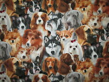 REALISTIC DOGS PILES PUPPY DOG COLORS COTTON FABRIC FQ