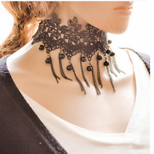 Women's Lace New Chain Tassel Choker Collar Necklace Gothic Punk Jewelry Black