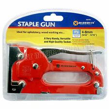 RED STAPLE GUN HEAVY DUTY HAND UPHOLSTERY 4-8MM TACKER STAPLER CABLE DIY METAL