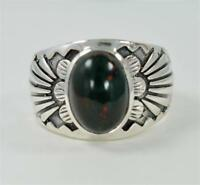 RARE BLOODSTONE OVAL CUT MARCH BIRTHSTONE 925 STERLING SILVER MENS RING #T1121