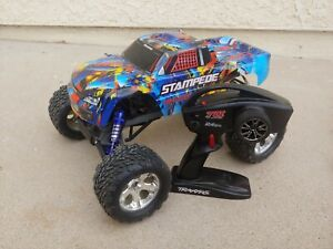 TRAXXAS STAMPEDE 2wd Blue RTR custom with extra parts