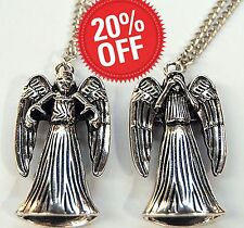Doctor Who Weeping Angel Die-Cast 3D Reversible Pendant Bbc Silver Metal Xmas
