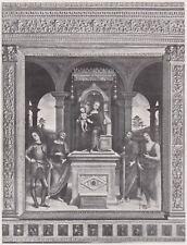 D5596 Gerino Gerini - Madonna in trono con Santi - Stampa d'epoca - 1932 print