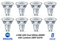 8 x Premium Philips LED Downlight Globes / Bulbs 4.5W 240V GU10 Cool White 4000K