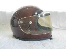 Vintage Motorcycle / Snowmobile Maroon Full Face HELMET with Face Shield, size M