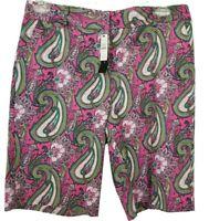 Talbots Pink Green Paisley Bermuda Flat Front Chino Shorts Pockets Size 10 NWT