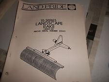 Land Pride Owner's PARTS Manual 15 SERIES LANDSCAPE RAKE SERIES II SERIAL #33160