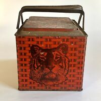 Antique Tiger Sweet Chewing Tobacco Tin  Litho Red Lunchbox Style