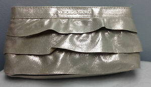 VICTORIA'S SECRET GOLD CLUTCH MAKEUP/COSMETIC BAG WITH RUFFLE NEW