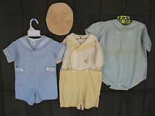 Vintage Baby Boy Clothes Toddler Short Romper Sailor Suit Cap 3 pcs Little Bitty