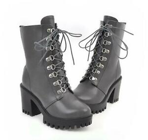 Punk Womens Gothic Lace Up Riding Combat High Chunky Heels Ankle Boots Shoes NEW