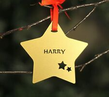 Personalised Gold Christmas Tree Star Bauble Festive Decoration Ornament