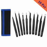 New 10x ESD Anti-static Tweezers Set Maintenance Repair Stainless Steel Tool Kit
