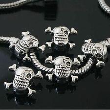 5pcs Tibetan Silver skull spacer Beads Fit European charm  Bracelet  L0109