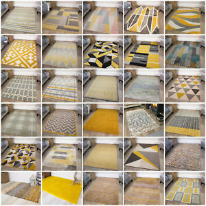 Modern Yellow Mustard Ochre Living Room Rugs Soft Grey Small Large Shaggy Rug UK