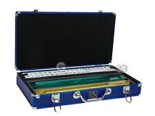 American Mahjong Set - White Tiles, Combo Racks & Pushers - Blue Aluminum Case