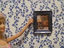 Ooak Framed Picture For Barbie, Friend or Your Diorama Light Periwinkle Frame