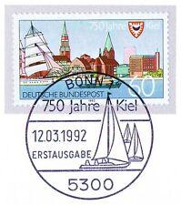 BRD 1992: Kiel 750 años! nº 1598 con sólo bonn etiquetas-sello especial! 1a! 1510