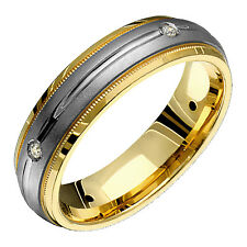 New 6mm Wide Mens Engraved Half Round 4 Diamonds Comfort Fit Wedding Band