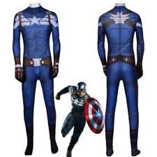 Captain America Costume Cosplay Avengers Endgame Halloween Party Suit Jumpsuit