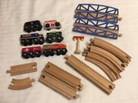 Mixed Lot of 24 Wooden Track Brio Thomas Bridge Train Cars Lionel Heritage 2006