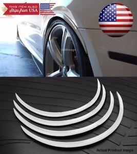 "2 Pairs 1"" Arch Wide Flexible Extension Fender Flares White Lip For VW Porsche"