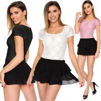 Womens Elegant Mini Dress Glam Lace Scoop Neck Short Sleeves Frill M-2XL W58
