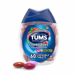 TUMS Chewy Bites Antacid Tablets for Chewable Heartburn Relief and Acid Indig...