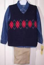 Nwt Good Lad Boy's 3 Pc. Argyle Vest, Denim Shirt & Pants Outfit Set, 7, $46