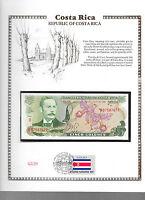 Costa Rica 3/12/1981 5 Colones P 236d.12 UNC w/ FDI UN FLAG STAMP Serie D