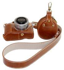 Pu cuir demi-caméra sac étui housse pour olympus pen lite E-PL8 EPL8 marron