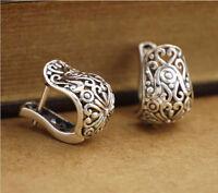 925 Sterling Silver Oxidized Filigree Oriental Huggie Hoop Earrings Women A1362