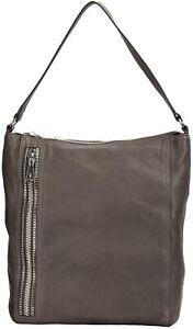 FRYE Lexi Leather Zipper Trim Hobo Bag-Charcoal- NWT