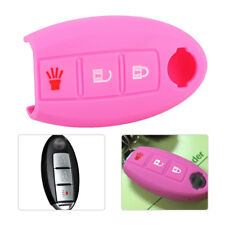 Pink 3 Buttons Remote Key Fob Case Shell Silicone Cover Fit Nissan TIIDA Murano