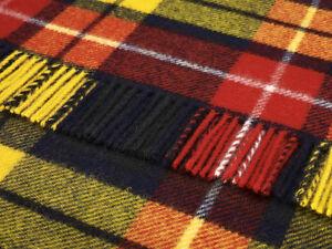 Pure new wool tartan sofa throw rug picnic blanket by BRONTE - BUCHANAN