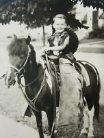 Vintage Young Cowboy Outfit Pony Photo Boy Horse Leather Chaps Hat 1940-50's