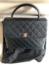 Chanel Kelly Vintage Bolso De Mano Cuero Negro Caviar