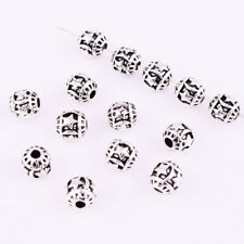 Stars And Moon Carved Spacer Bead Round Ball Tibetan Silver Jewelry Findings 6mm