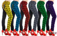 Womens Banned Half Tartan Plaid Check Emo Punk Skinny Split Leg Pants Trousers
