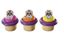 Dia de los Muertos Skeleton cupcake rings (24) party favor cake topper 2 doz